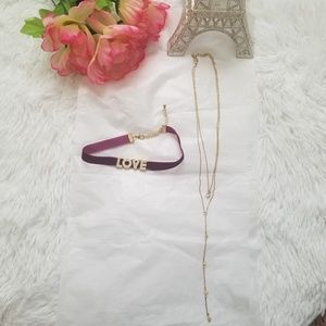 Necklace and love choker set